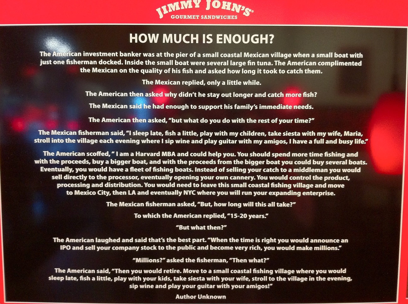 How Much Is Enough A Story From Jimmy John S David